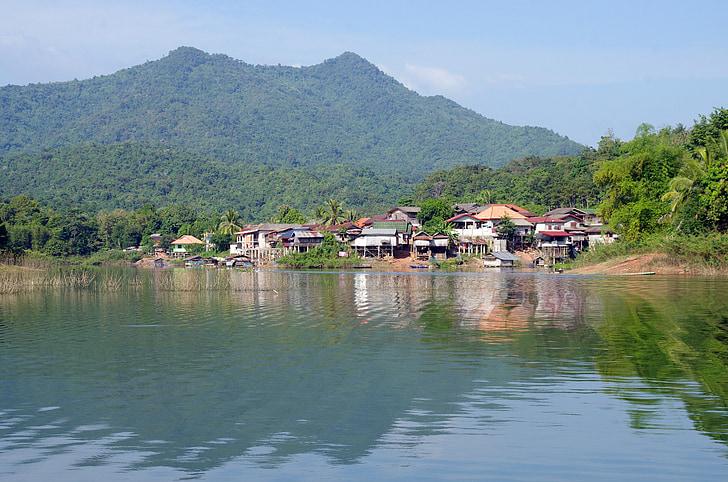 Laos, Lago, Casa, aldea, reflexiones, Vang vieng, pesca tradicional