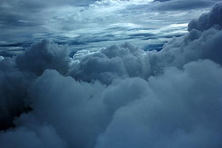 wolken, plomp wolken, bewolkte hemel, zwart witte hemel, natuur, hemel, bewolkt