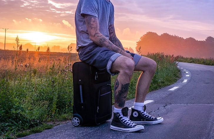 viatger, Excursionista, viatge, vagar, autoestop, Autostopistes, home