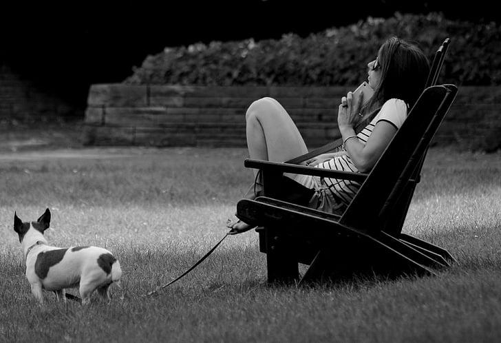con người, người phụ nữ, công viên, nồng độ, mùa hè