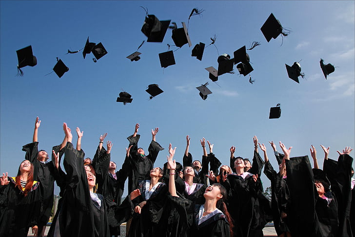 accomplishment, ceremony, education, graduation, group, hats, people