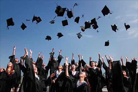 изпълнение, церемония, образование, дипломирането, Група, шапки, хора