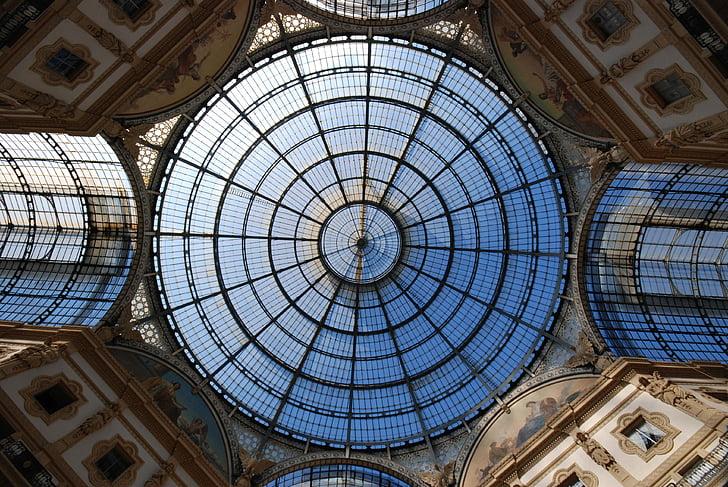 Milà, galeria, Itàlia, Vitrall, sostre