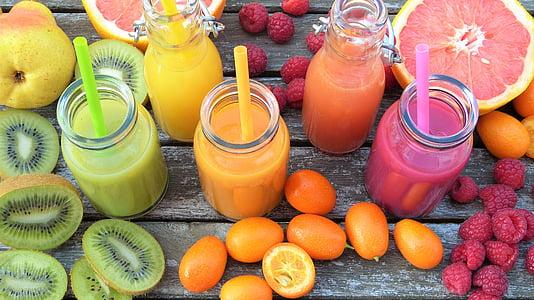 kokteiļus, augļi, krāsains, vitamīnu, veselīgi, augļi, Frisch