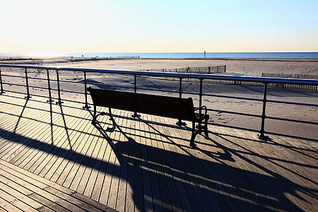 beach, daybreak, dawn, sunrise, ocean, boardwalk, bench