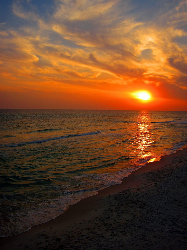 strand, zonsondergang, Florida, Sunset beach, Oceaan, zee, hemel