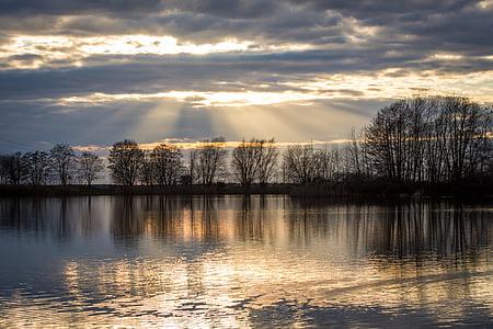 sunset, lake, sky, abendstimmung, nature, clouds, sun