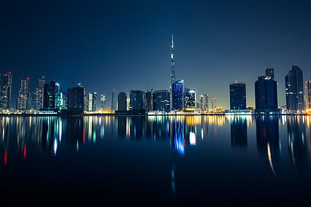 staden, Skyline, natt, byggnad, Förenade arab emiraten, Arabemiraten, Dubai