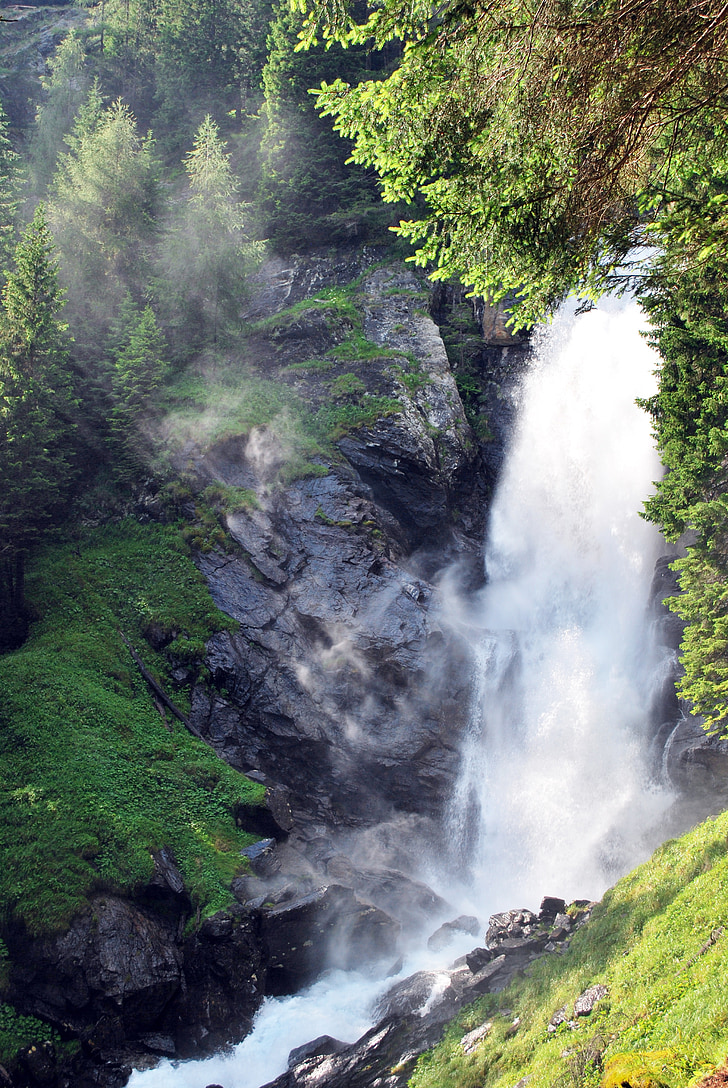 natur, vann, foss, fjell, styrke