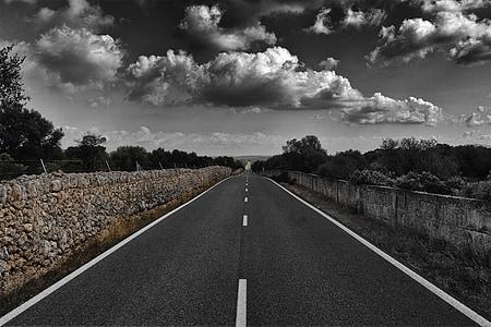 mallorca, road, spain, view, road train, clouds