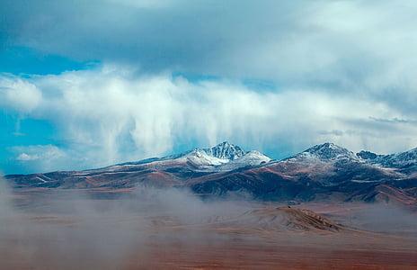 Сніжна гора, декорації, Синє небо, Хмара, Гора, Природа, краєвид
