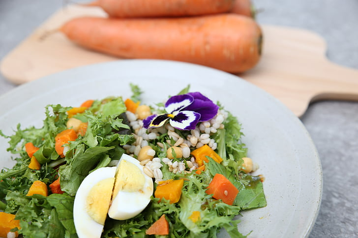 サラダ, ニンジン, 食品, 卵, 有機