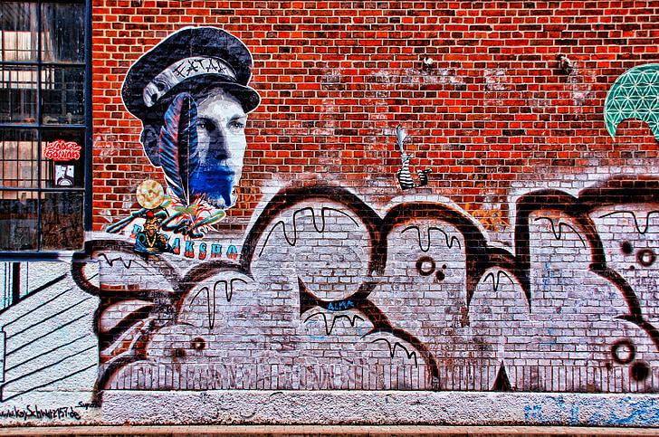 graffiti, falfestés, spray, Art, hauswand, gyári, festészet