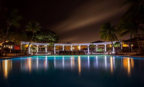 karanlık, otel, lüks, gece, Havuzu, Spa, Yüzme