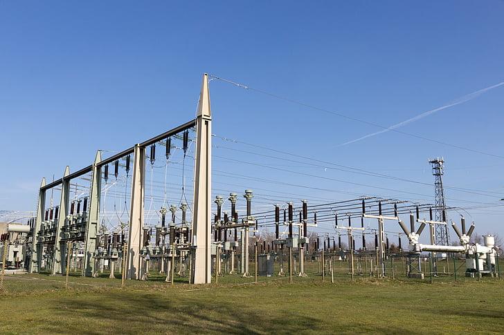 planta d'energia elèctrica, actual, energia, strommast, electricitat, cable, tecnologia