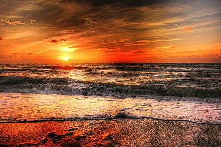 sonce, Danska, poletje, sončni zahod, narave, krajine, morje