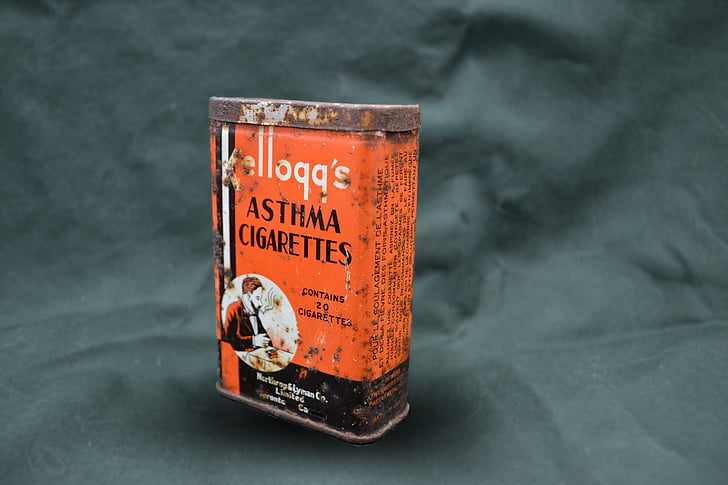 cigaretter, Kelloggs, tin, grafisk, rust, astma, behandling