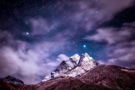 Himàlaia, muntanyes, cel, núvols, estrelles, nit, posta de sol
