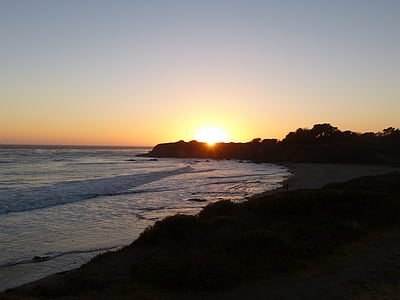 sunset, cambria, beach, nature, coast, pacific, california