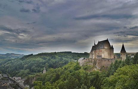 buildings, castle, clouds, conifers, dark clouds, fir trees, forest