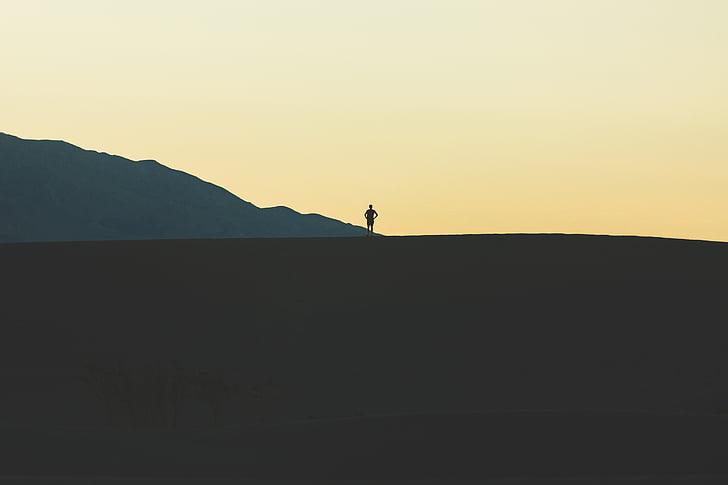 vīrietis, kalns, persona, siluets, pastāvīga, saulriets, ainava