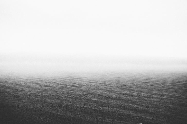 black, white, sky, water, black and white, landscape, nature