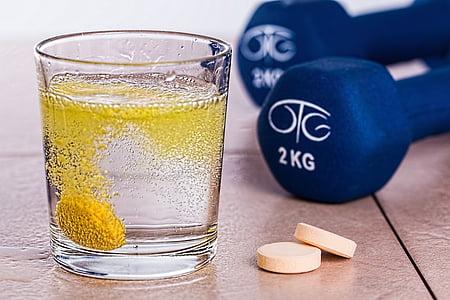 vitamina b, efervescente, Tablet, suplemento, boa saúde, exercício, saúde