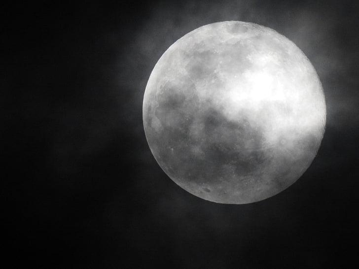 місяць, ніч, місяць за ніч, Нічний краєвид, небо і місяця, туманні місяць, повний місяць