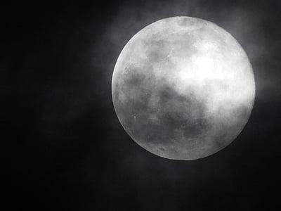Lluna, nit, la lluna de nit, paisatge de nit, cel i la lluna, Lluna boirós, Lluna plena