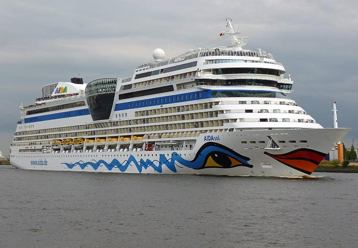 Aida sol, hamn, fartyg, kryssning, Aida, kryssningsfartyg, nautiska fartyg