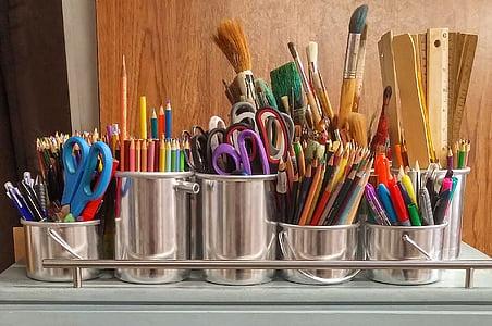 art ซัพพลาย, แปรง, ไม้บรรทัด, กรรไกร, แปรงทาสี, ซัพพลาย, การศึกษา