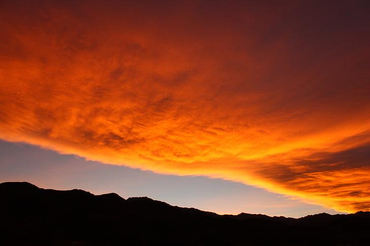 ท้องฟ้า, พระอาทิตย์ตก, ภูเขา, เมฆ, ระบบคลาวด์