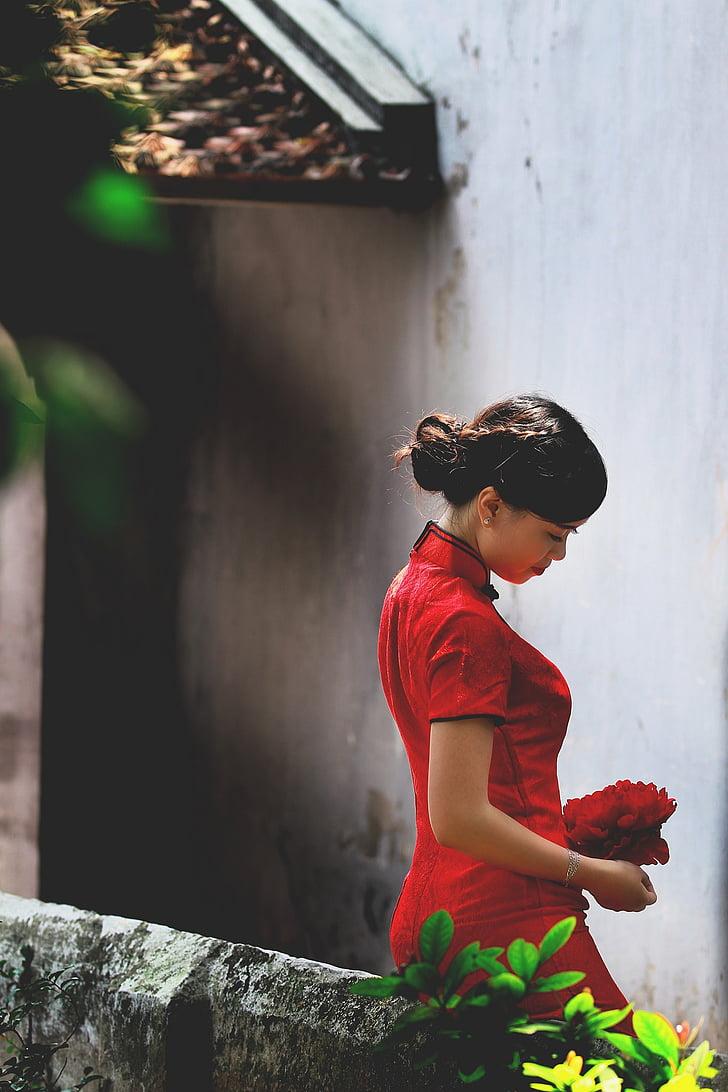Vietnam, vietnamites, noia, jove, senyora, vermell, persones