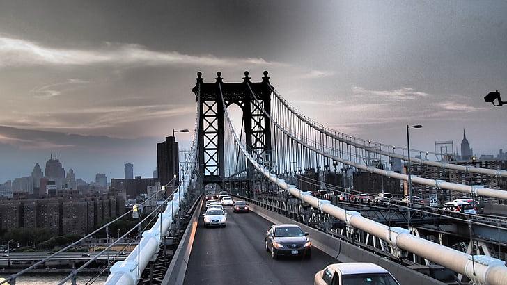 brooklyn bridge, new york, suspension bridge, bridge, traffic, city, autos