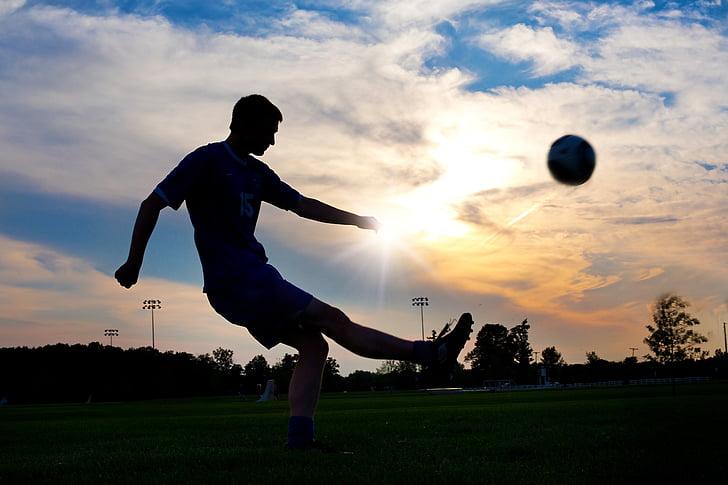 Jalkapallo, potkiminen, pallo, Sunset, urheilu, soitin, Jalkapallo