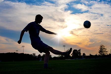 футбол, рита, топка, залез, спорт, играч, футбол