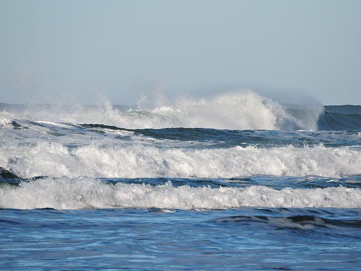 platja, ones, oceà, del Pacífic, l'aigua, Mar, ona