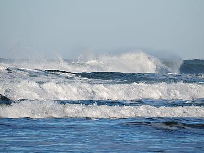 пляж, хвилі, океан, Тихоокеанський, води, море, хвиля