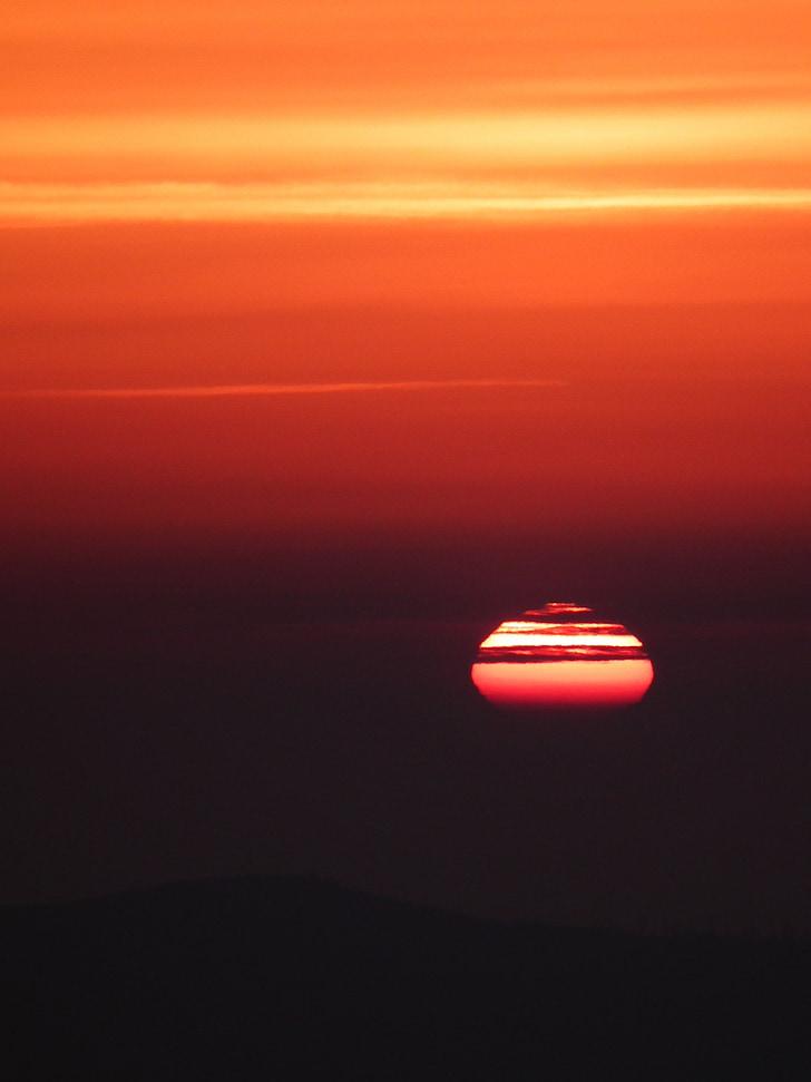 sol, noite, pôr do sol, humor, arrebol, romântico, vermelho