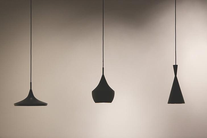 tri, silueta, vješanje, svjetiljke, svjetla, svjetiljka nijanse, dizajn