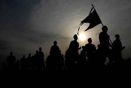 corredors, siluetes, militar, gimnàs, Sa, posta de sol, capvespre