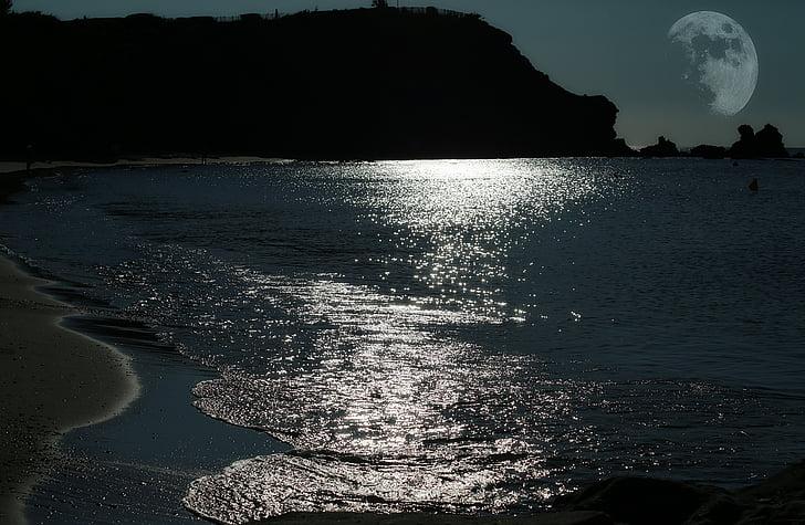Lluna, Mar, reflexes de llum, Lluna plena, llum de lluna, Mediterrània, al costat del mar