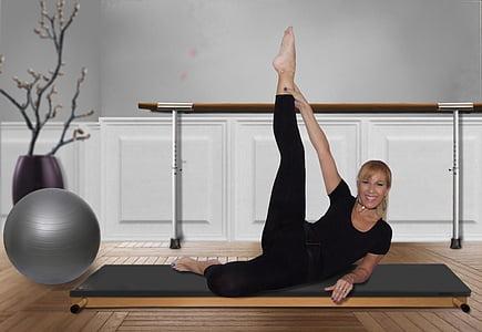 sieviete, Pilates, Vingrošana, apmācības, trenažieru zāle, vingrinājumi, kustība