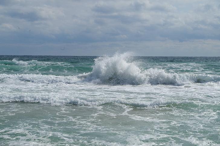 mar, espuma del mar, nubes, ondas