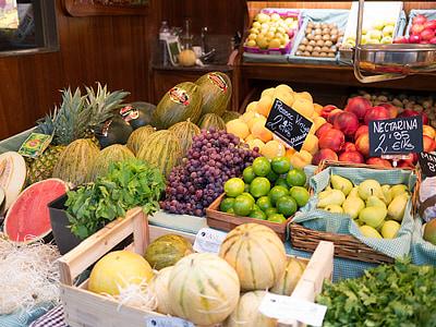 voće, tržište, dinja, grožđe, Barcelona, kruška, vapno