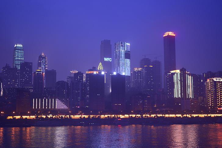 Chongqing, vaizdas naktį, aukštuminiai pastatai, atspindys, Jangdzė