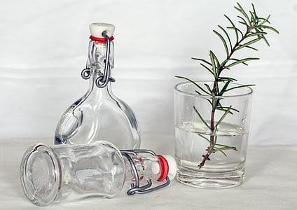 Stilleven, flessen, nostalgie, decoratie, fles