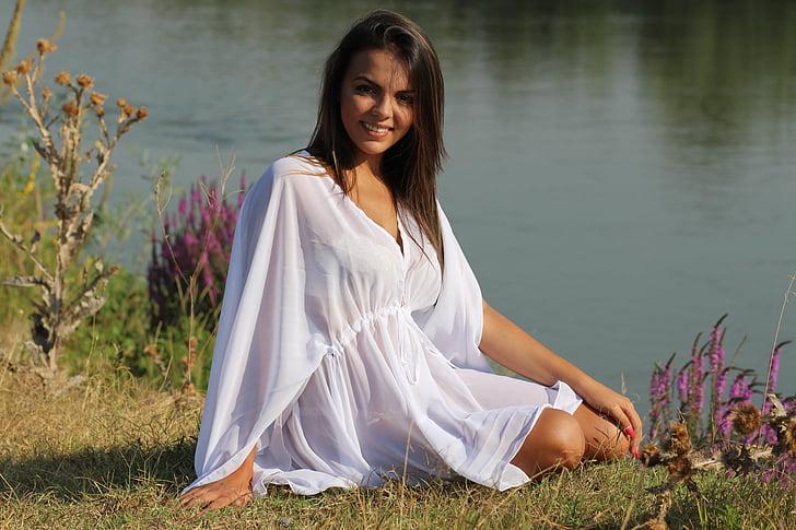 girl, lake, dress, white, sensual, brown