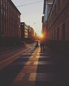 sunset, city street, downtown, cityscape, scene, district, street