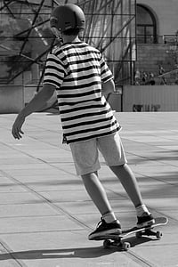 Patinatge, patinador, monopatí, nen, noi, casc, persones